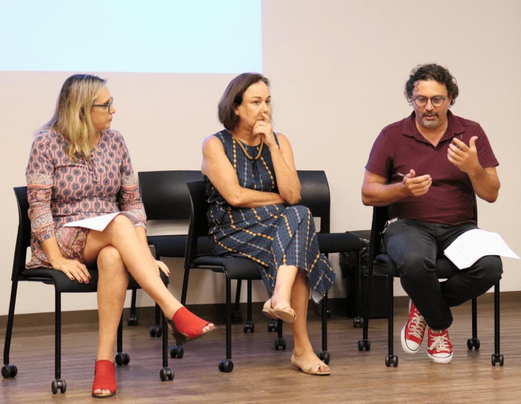 Mônica Gardelli Franco, Anna Helena Altenfelder e Alexandre Isaac, do CENPEC, no encontro da Rede Brasileira de Aprendizagem Solidária, coordenada pela organização. Foto: João Marinho.