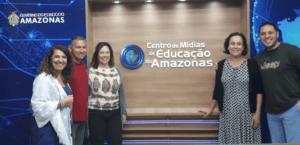À esquerda: Marcia Coutinho, Silone Nogueira (assessor de direção do Cemeam) e Luciana Medeiros. À direita, Anna Helena Altenfelder e Valquindar Ferreira Mar Júnior (diretor do Cemeam). Foto: Reprodução.