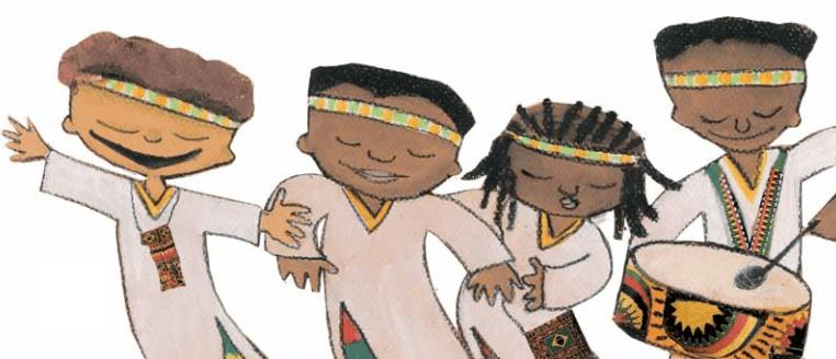 Desenho de crianças afro-brasileiras e tambores.