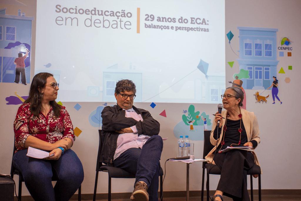 Da esq. para a dir.: Marília Rovaron, Flávio Frasseto e Lurdinha Trassi.