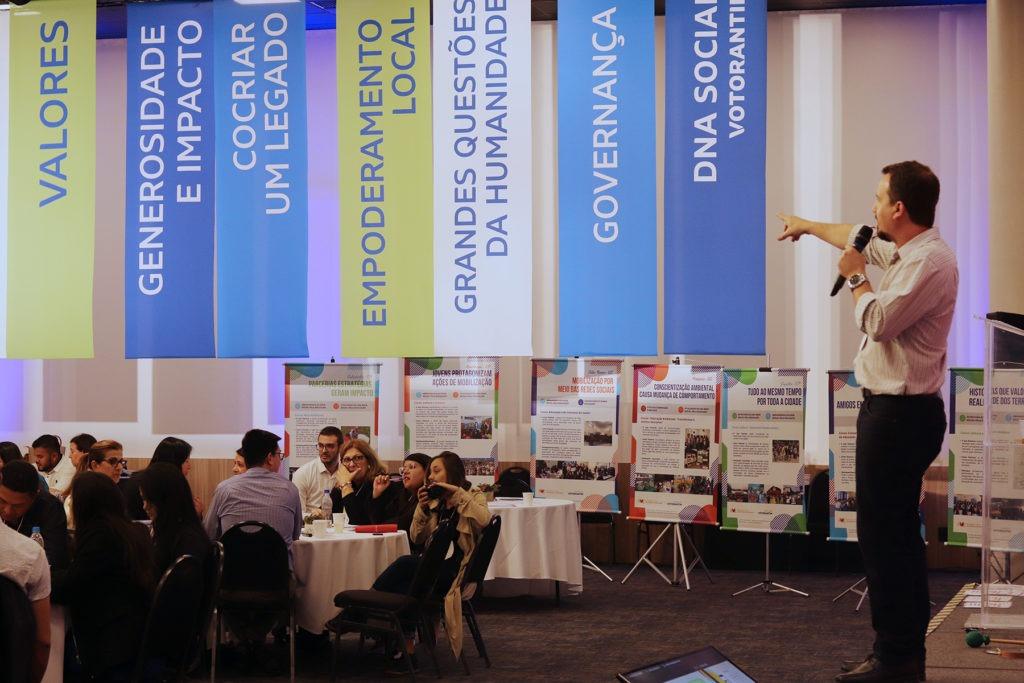DNA social do Instituto Votorantim, apresentado no 1º dia da Oficina de Mobilização: Futuro; Valores; Generosidade e impacto; Cocriar um legado; Empoderamento local; Grandes questões da humanidade; e Governança.