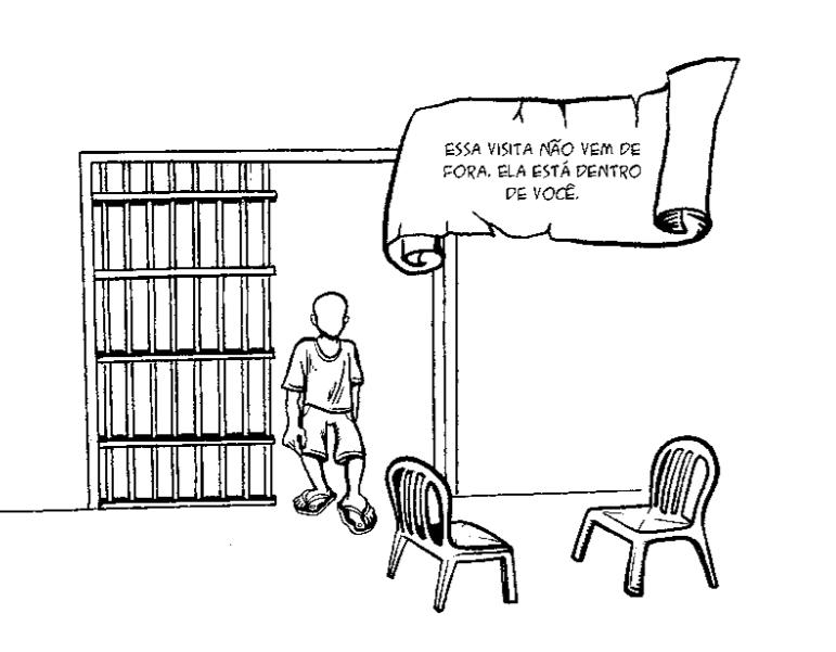 Quadro de HQ da publicação A voz dos meninos. Menino sem traços de rosto entrando em uma sala, com duas cadeiras vazias à sua frente, e um portão com grade semiaberta às costas