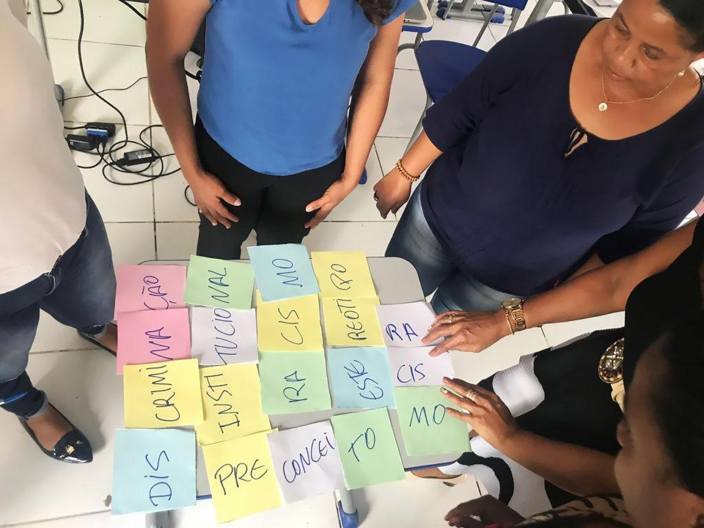 Atividade durante reunião da PVE Itinerante ou Quilombola. Foto: Reprodução.