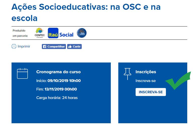 Imagem de como se inscrever no curso de Ações Socioeducativas