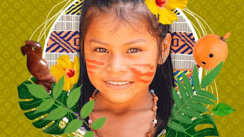 Menina indígena cercada de elementos da sua cultura