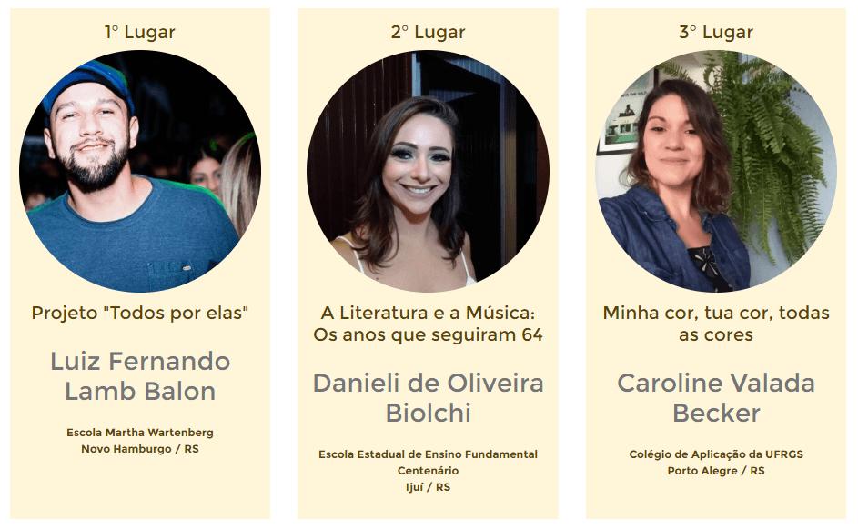 Projetos vencedores do Prêmio RBS na categoria escola pública.
