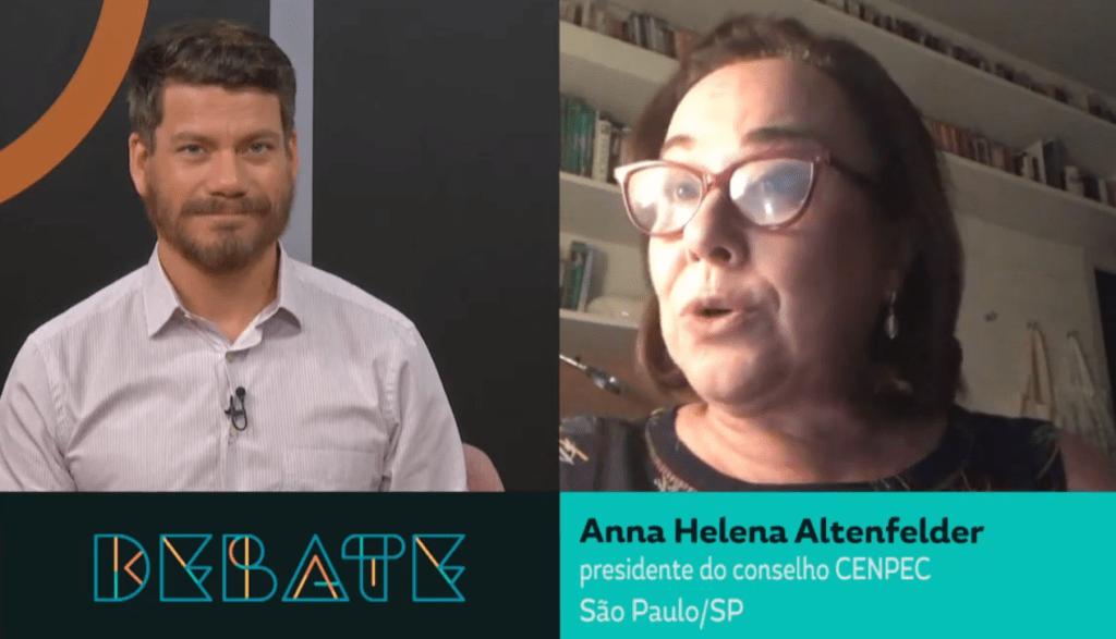 "Cristiano Reckziegel e Anna Helena Altenfelder no programa ""Debate"", do Canal Futura."