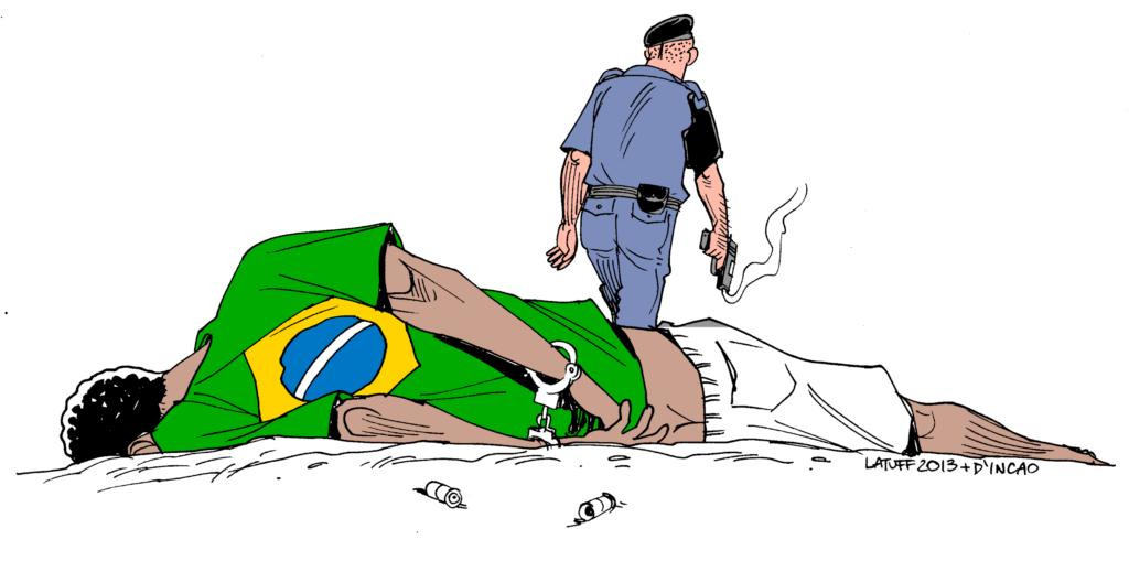 Charge assinada pelo cartunista Latuff, que mostra um policial com uma arma se afastando depois de atirar em um jovem negro algemado e e usando uma camiseta com a bandeira brasileira