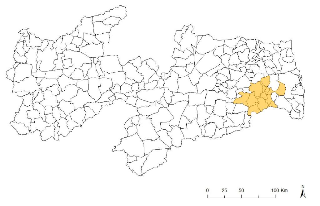Mapa da Paraíba mostrando municípios do Cogiva.