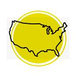 Mapa dos Estados Unidos.