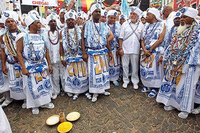 Cerimônia de religião afro-brasileira.