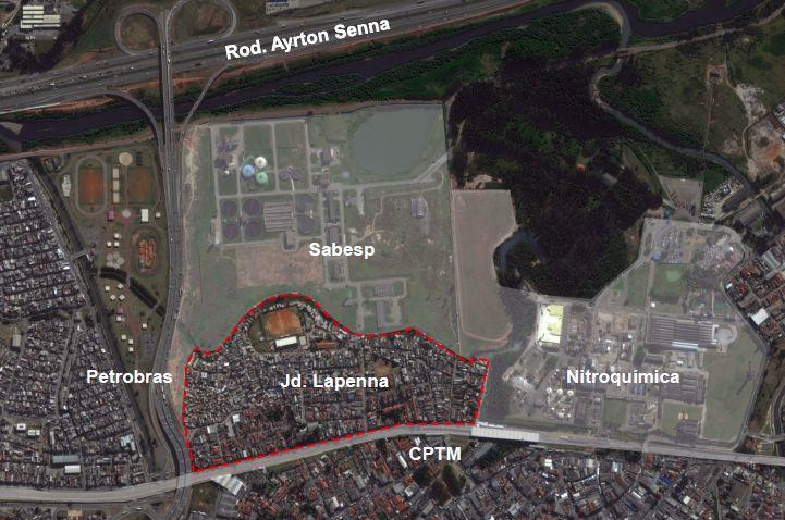 Delimitação do Jardim Lapenna, na zona leste de São Paulo, segundo barreiras físicas (Sabesp, Petrobras, Nitroquímica, CPTM). Fonte: Fundação Tide Setubal.