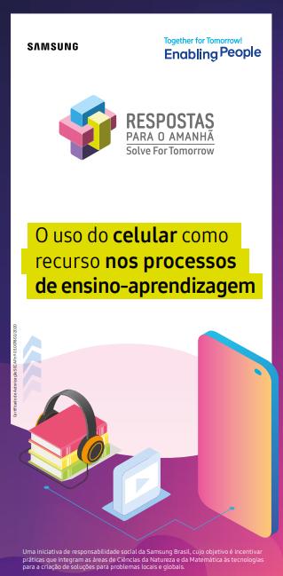 Capa do ebook O uso o celular como recurso nos processos de ensino-aprendizagem, com fundo branco e elementos gráficos na cor roxa, além de ícones que remetem à educação e dispositivos móveis.
