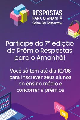 Cartaz chama professores para inscrição na 7ª edição do Prêmio Respostas para o Amanhã.
