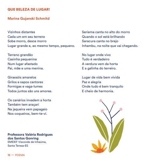 Poema da estudante Marina Gujanski Schmitd, de Santa Teresa (ES), integra o caderno dos textos vencedores da 6ª edição da Olimpíada de Língua Portuguesa