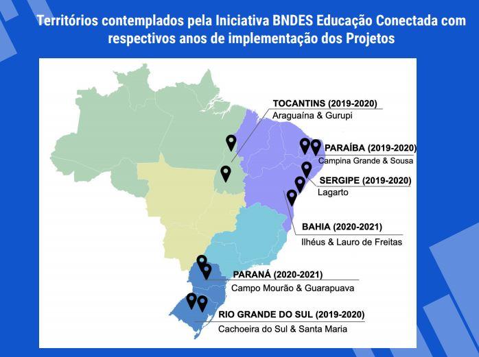Imagem de mapa com territórios contemplados pela Iniciativa BNDES Educação Conectada.
