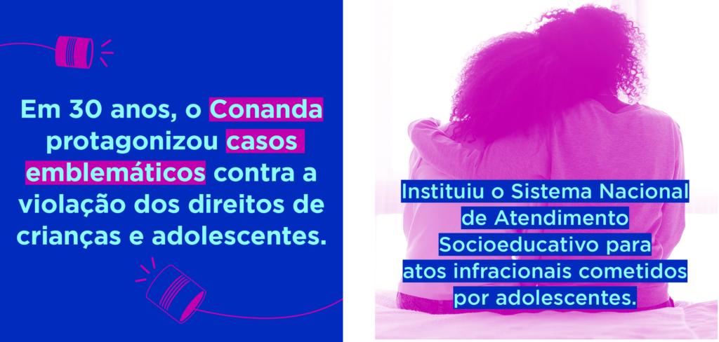 Imagens da campanha #EscuteEsseConselho, criada em 2019, que mostram a importância do Conanda para a garantia dos direitos das crianças e dos adolescentes.