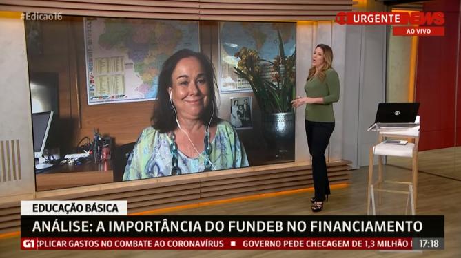 Imagem da participação de Anna Helena Altenfelder, Presidente do Conselho de Administração do CENPEC Educação, no Jornal GloboNews Edição das 16.