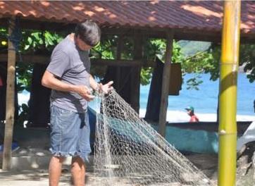 Oficina de fotos: pescador e sua rede na Praia do Sono, 2017. Foto: reprodução