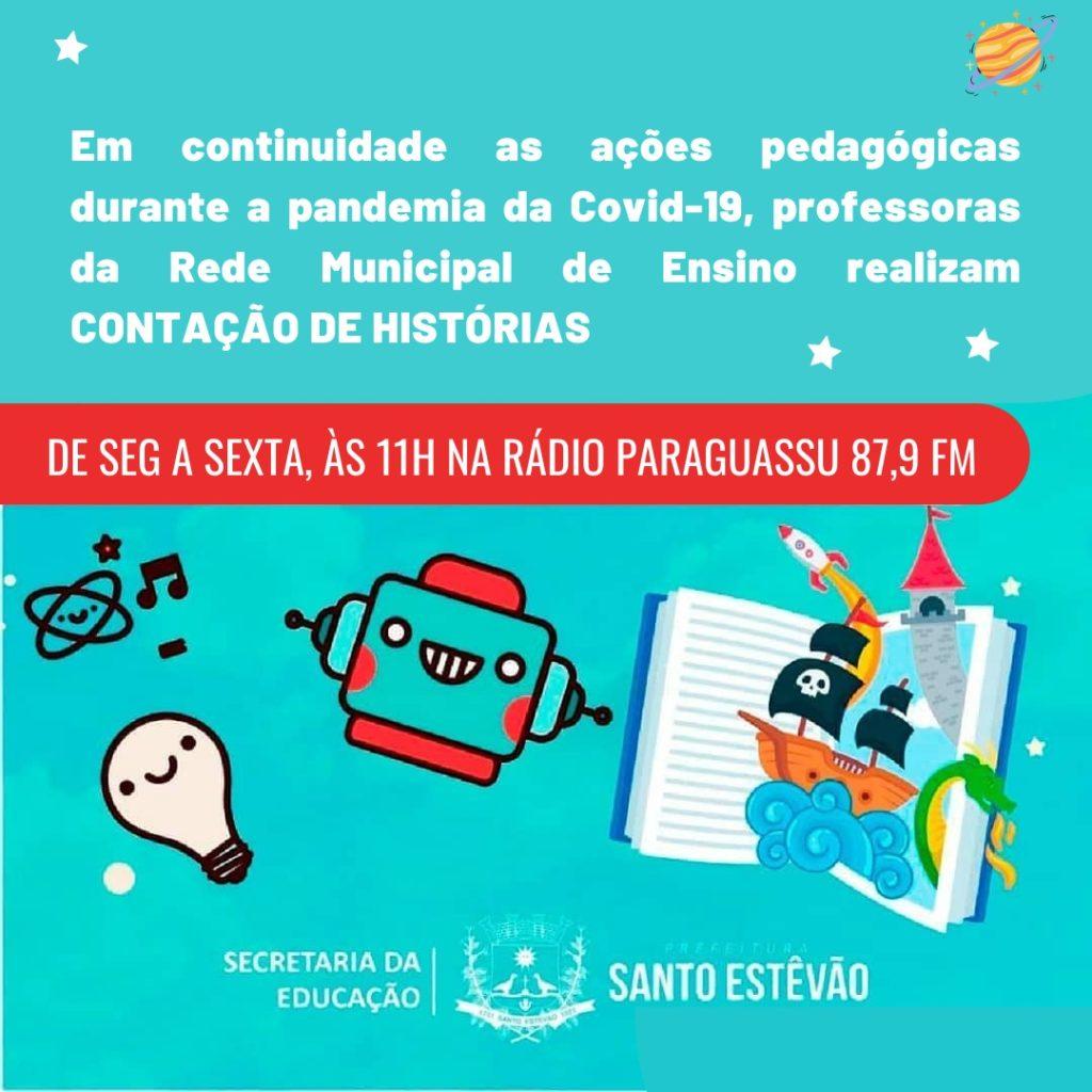 Imagem do cartaz sobre o projeto de Contação de Histórias por professores de Santo Estêvão (BA).