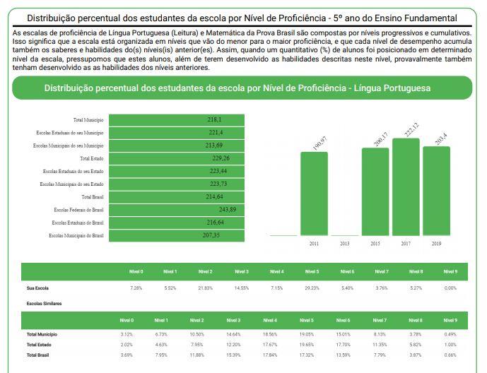 Imagem da Distribuição percentual dos estudantes da escola por Nível de Proficiência.