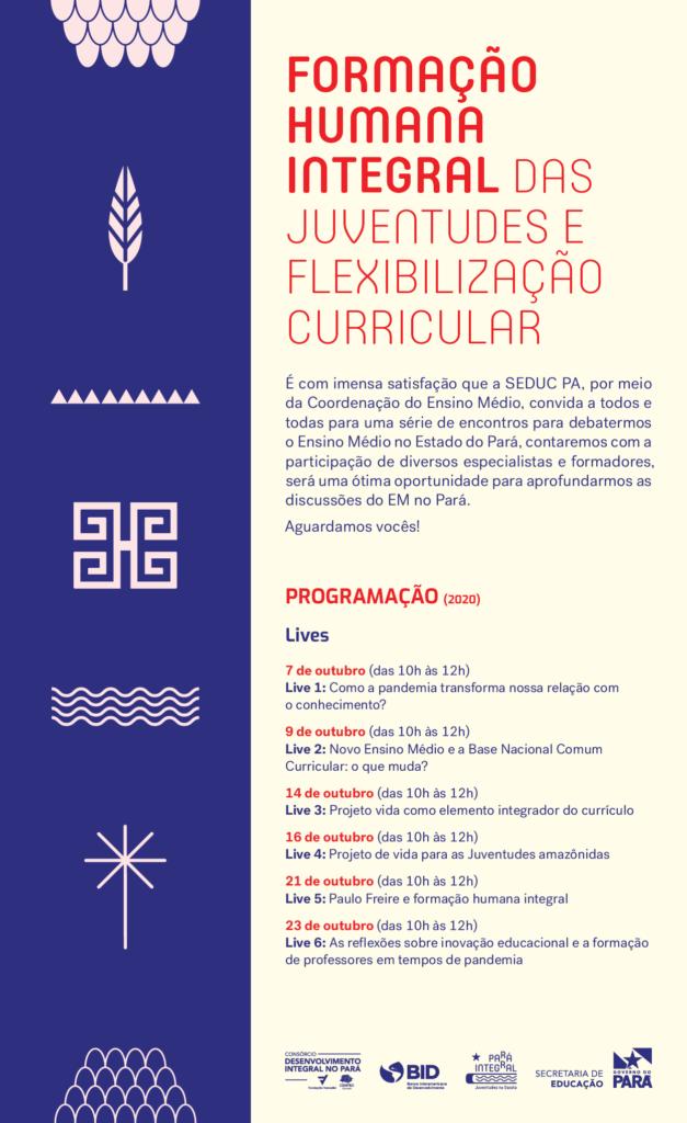 Imagem da programação das lives oferecidas pela Secretaria de Estado de Educação do Pará (Seduc).