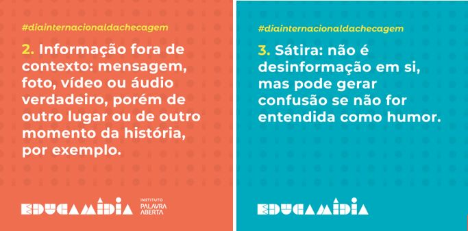 Entre os recursos disponibilizados pelo EducaMídia, estão cards para serem usados em redes sociais para combater a desinformação.