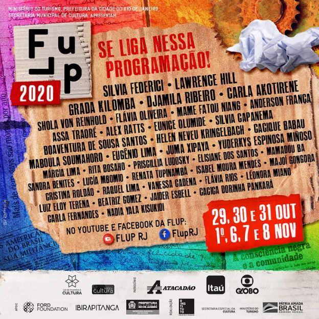 Imagem com a relação de participantes da 9ª edição da Festa Literária das Periferias (Flup) 2020.