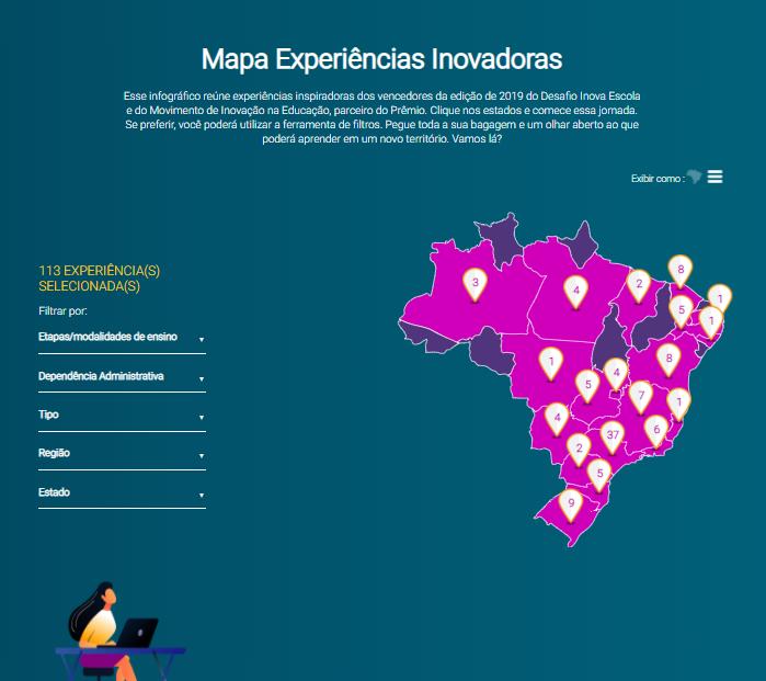 """Imagem da Página principal do infográfico interativo """"Mapa de Experiências Inovadoras""""."""