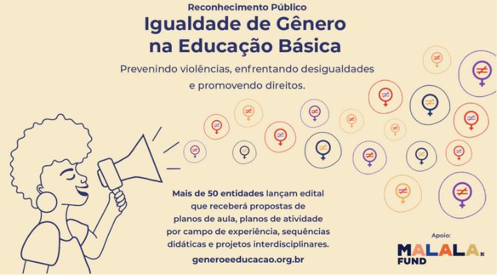 Imagem apresenta o edital público Igualdade de Gênero na Educação Básica: prevenindo violências, enfrentando desigualdades e promovendo direitos.