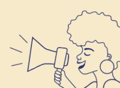 mulher negra com megafone